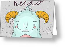 Card Template With Cartoon Monster Greeting Card