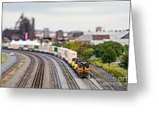 Cargo Train Photographed Using A Greeting Card