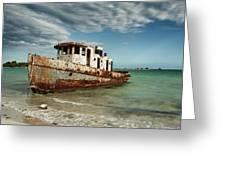 Caribbean Shipwreck 21002 Greeting Card by Rick Veldman