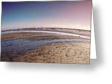 Carlsbad Low Tide Red Blue Sky Greeting Card by Alison Frank