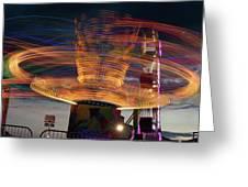 Carnival Rides Motion Blur Greeting Card