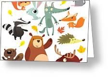 Cartoon Forest Animal Characters. Wild Greeting Card