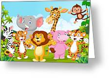 Cartoon Happy Little Animal Greeting Card