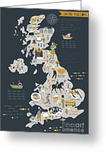 Cartoon Map Of United Kingdom With Greeting Card