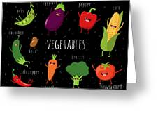 Cartoon Vegetables Illustration On Greeting Card