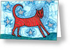 Cat By Starlight Greeting Card