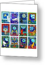 Cat Zodiac Paintings  Greeting Card