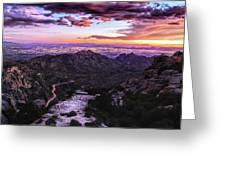 Catalina Highway Sunset And Tucson City Lights Greeting Card by Chance Kafka