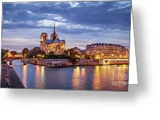 Cathedral Notre Dame And River Seine Greeting Card by Brian Jannsen