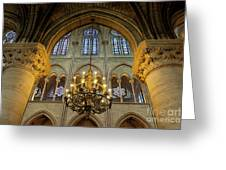 Cathedral Notre Dame Chandelier Greeting Card by Brian Jannsen