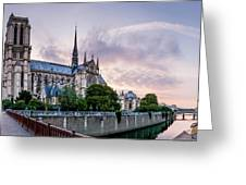 Cathedral Of Notre Dame From The Bridge - Paris France Greeting Card
