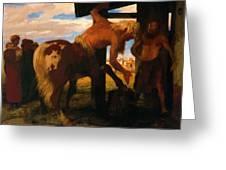 Centaur At The Village Blacksmith Shop 1888 Greeting Card
