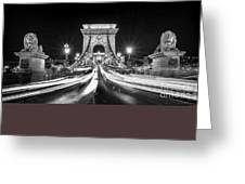 Chain Bridge At Night In Budapest Greeting Card