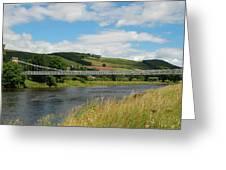 chainbridge over river Tweed at Melrose Greeting Card