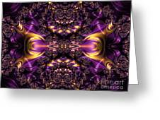 Chained Dragons Condemned  To Battle In Hells Fiery Furnace Fractal Abstract Greeting Card by Rose Santuci-Sofranko