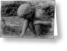 Cherub In The Grass Greeting Card