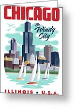 Chicago Poster - Vintage Travel Greeting Card