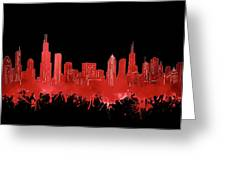Chicago Skyline Watercolor 5 Greeting Card