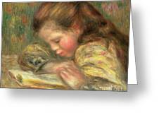 Child Reading, 1890  Greeting Card