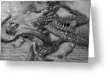 Chinese Dragons In Black And White Greeting Card