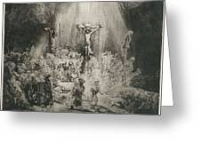 Christ Crucified Between The Two Thieves   The Three Crosses          Greeting Card