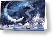 Christmas Card With Frozen Moon Greeting Card