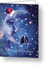 Christmas Card With Smiling Moon And Cats Greeting Card
