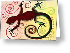 Christmas Gecko With Gold Poop Greeting Card