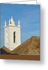 Church Bell Tower Behind Tiled Roofs In Tavira Greeting Card