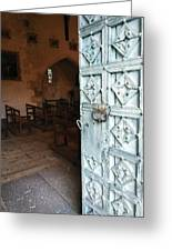 Church Door Tremouille Auvergne Francd Greeting Card