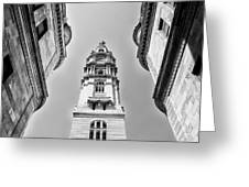 City Hall In Center City Philadelphia In Black And White Greeting Card