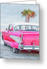 Classic Vintage Pink Chevy Bel Air  8x10 Scene Greeting Card