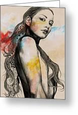 Cleansing Undertones - Zentangle Nude Girl Drawing Greeting Card