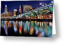 Cleveland Ohio Skyline Reflects Colorfully Greeting Card
