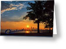 Cleveland Sign Sunrise Greeting Card