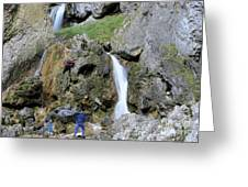 Climbers Making Their Way Up The Cliffs Of Gordale Scar Greeting Card