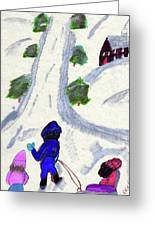 Climbing To The Top Of The Hill Greeting Card