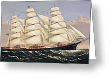 Clipper Ship Three Brothers, The Largest Sailing Ship In The World Published By Currier And Ives Greeting Card
