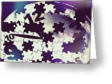 Clock Holes And Puzzle Pieces Greeting Card