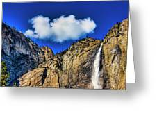 Clouds Abover Upper Yosemite Fall Greeting Card