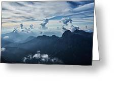 Moody Cloudy Mountains With A Lot Of Contrast And Shadows And Clouds Greeting Card
