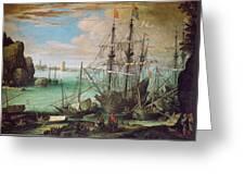 Coastal Landscape With Harbor  Greeting Card