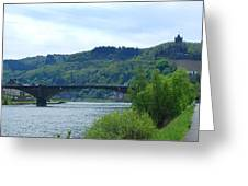 Cochem Castle And River Mosel In Germany Greeting Card