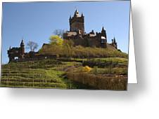 Cochem Castle And Vineyard In Germany Greeting Card