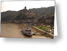 Cochem Castle, Town And River Mosel In Germany Greeting Card