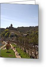 Cochem Main Street And Castle In Springtime In Germany Greeting Card