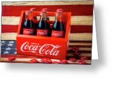 Coke And American Flag Greeting Card