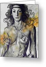 Colony Collapse Disorder - Gold - Nude Warrior Woman With Autumn Leaves Greeting Card