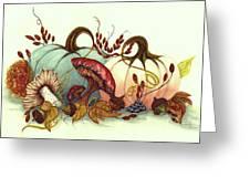 Color Me Autumn - Pumpkins And Mushrooms Greeting Card