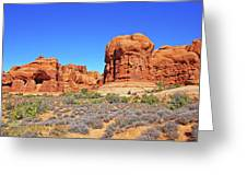 Colorado Arches Park Landscape Scrub Red Rocks Blue Sky 3335 Greeting Card